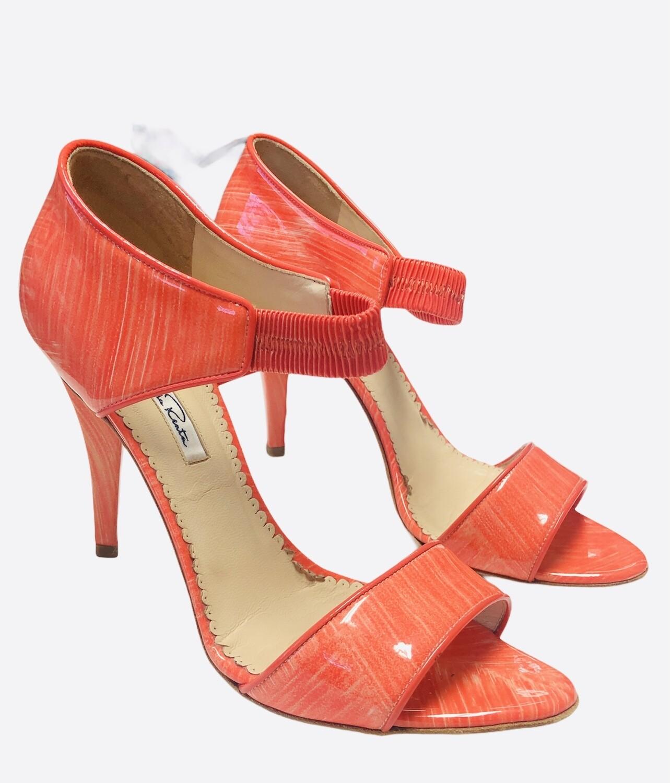 OSCAR De La RENTA Salmon Patent Open Toe Heels size 39, US 8