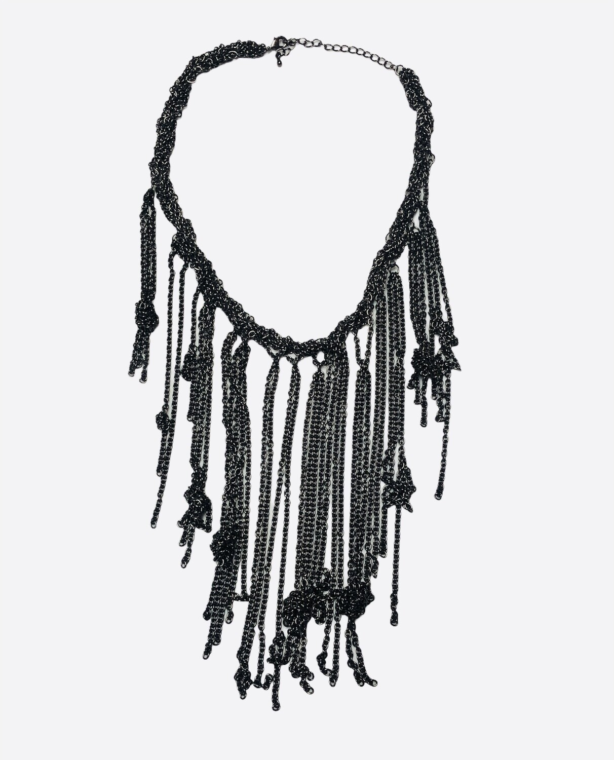 Smoke Silver Knotted & Fringe Statement Necklace