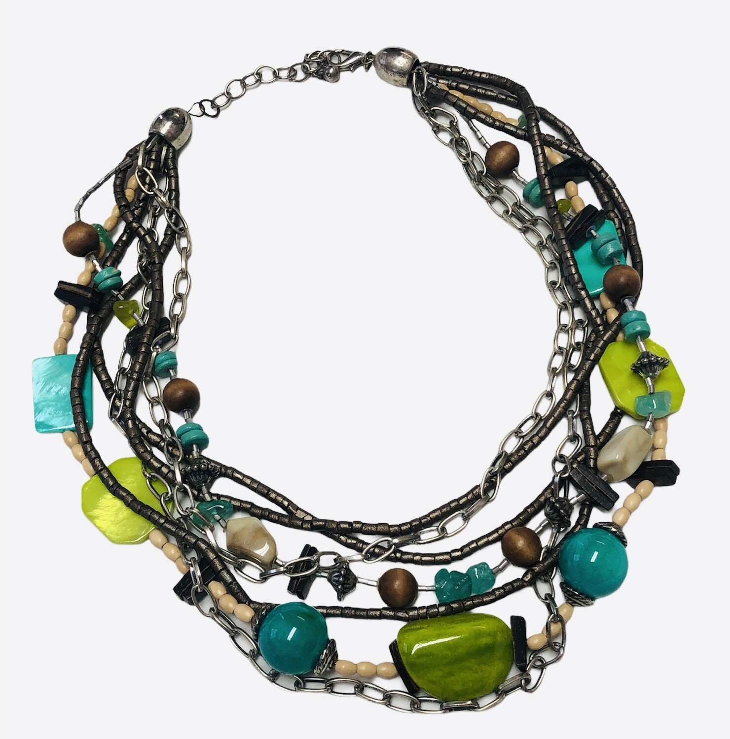 Lime & Turquoise Bead Multi Strand Necklace