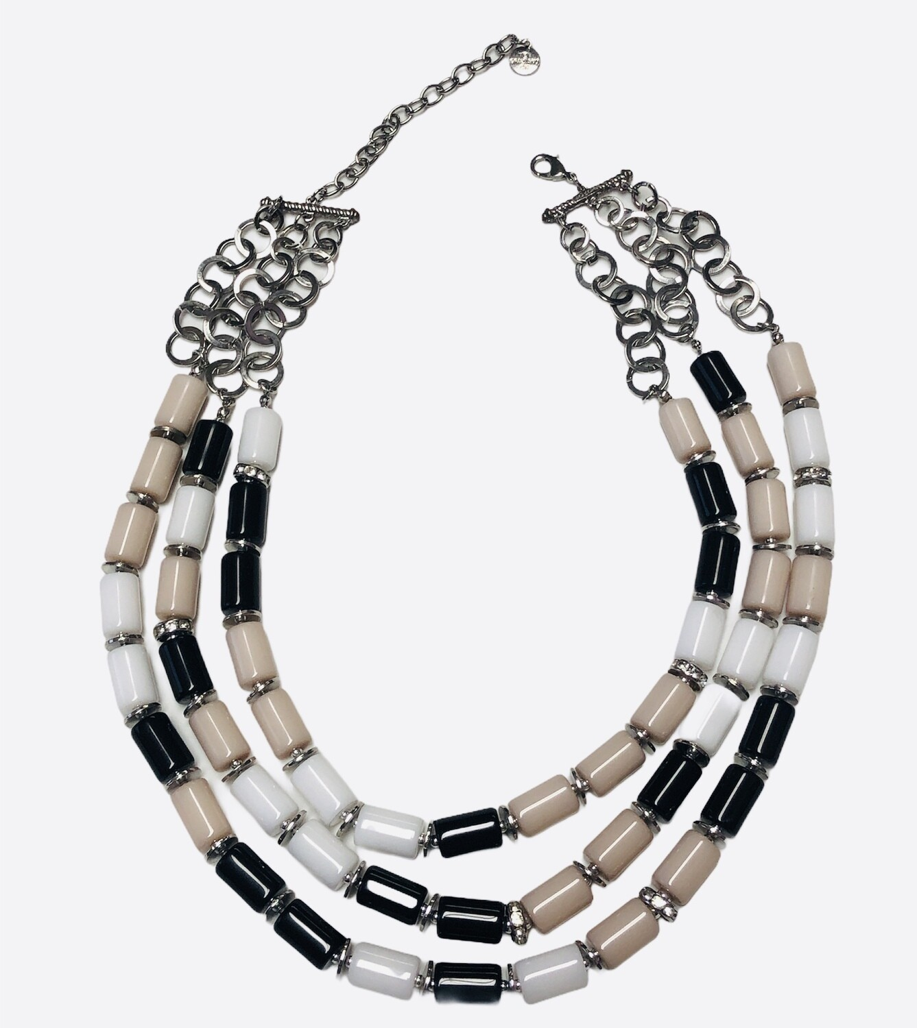 GRAZIANO Tri Color Cylinder Beaded Necklace