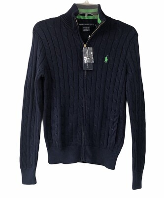 New RALPH LAUREN Golf Blue Cable Knit Zip Front Sweater Small