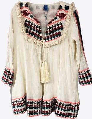 Anthropologie RAJ Cream Embroidered Tie Jacket size Large
