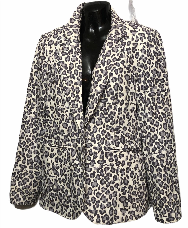 RACHEL ZOE Gray Animal Print Linen Blazer/Jacket size Medium