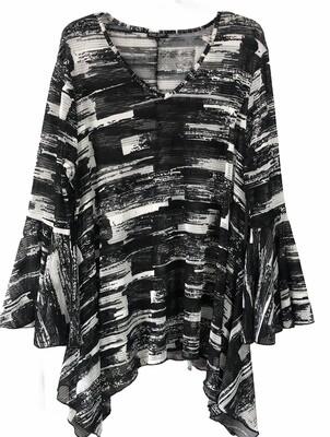 DOR DOR Black & White Print Design Mesh Blouse size 3X