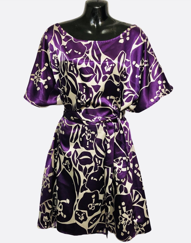 BCBG Violet & Cream Print Dress size Medium