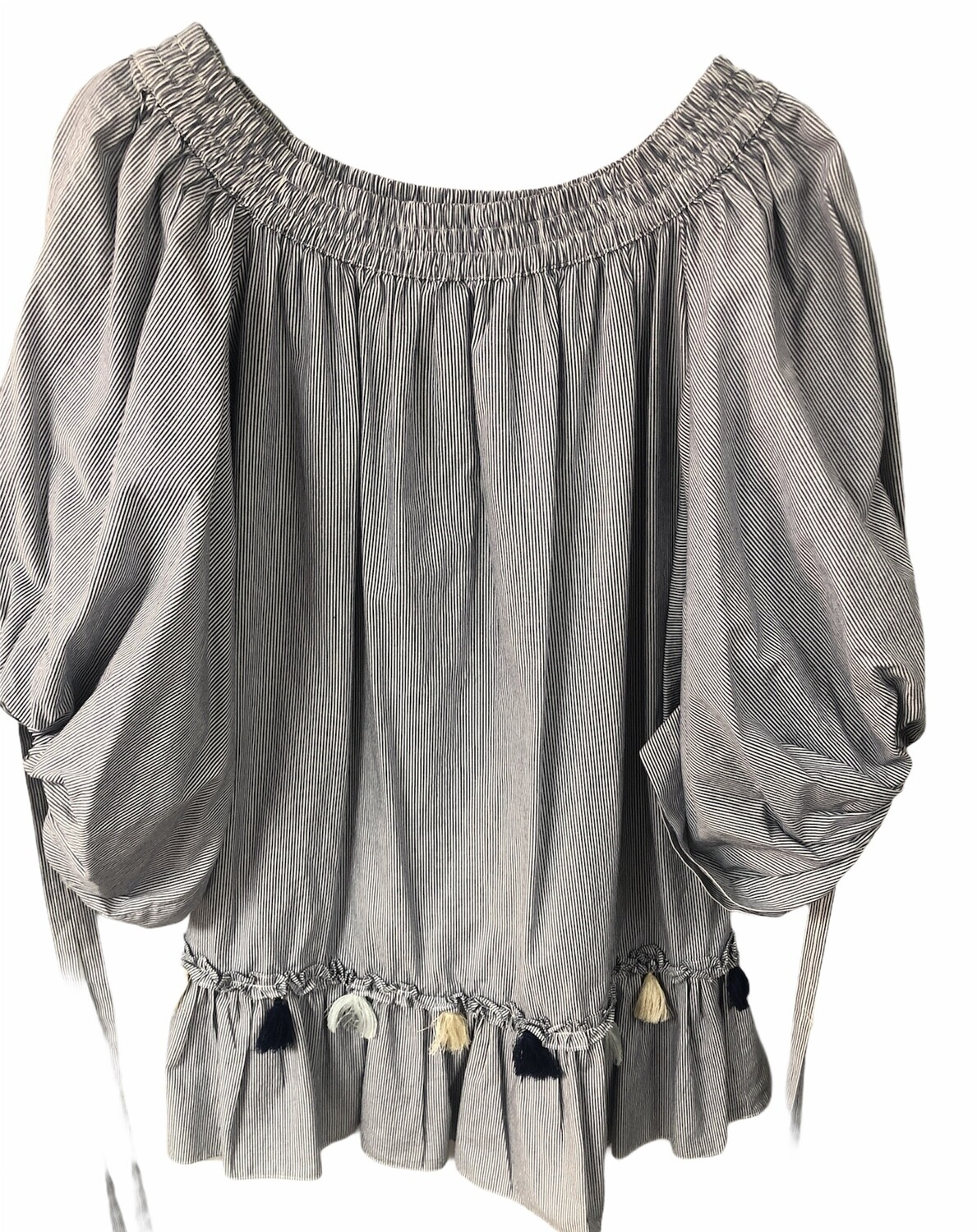 MISA Pinstripe Boho Off-The-Shoulder Blouse size Small