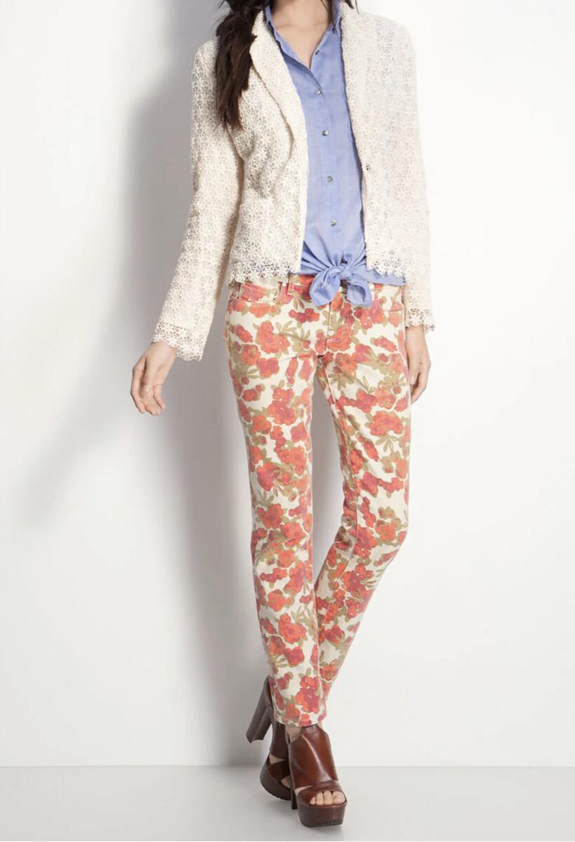PAIGE Denim Skyline Floral Skinny Ankle Peg Jeans