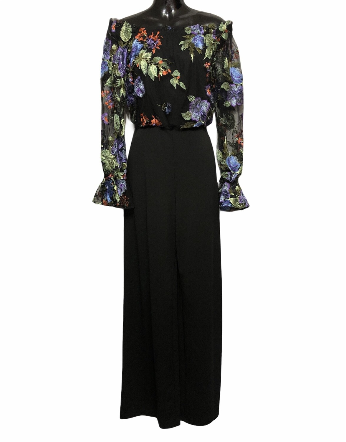 ADRIANNA PAPELL Sheer Floral Off-The-Shoulder Jumpsuit size 6
