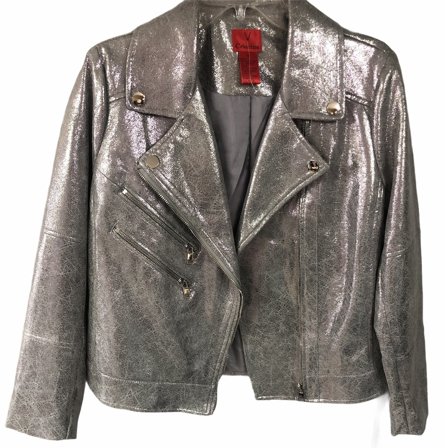 CRISTINA Metallic Pewter Moto Jacket size Medium