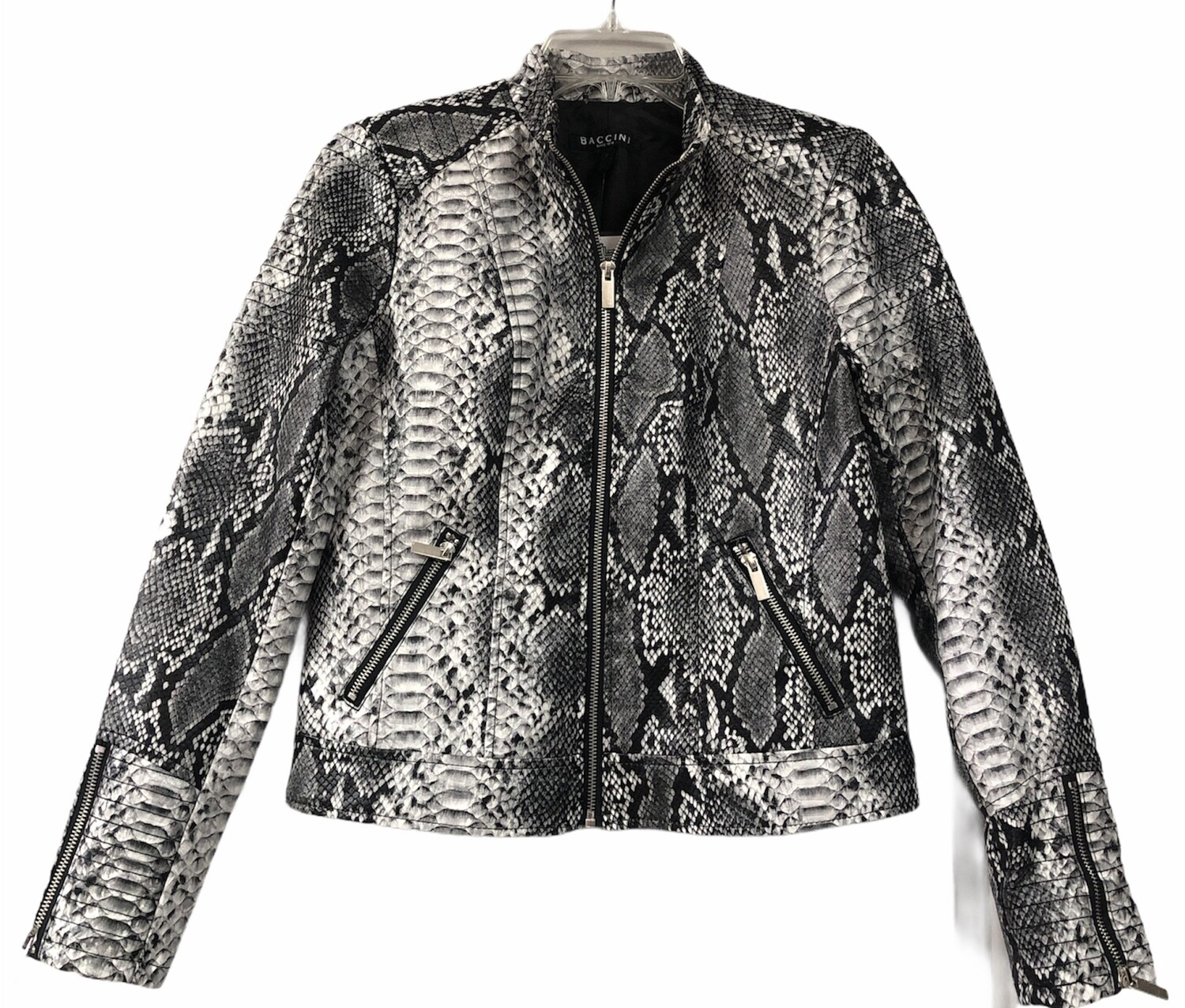New BACCINI Faux Leather Reptile Moto Jacket Medium