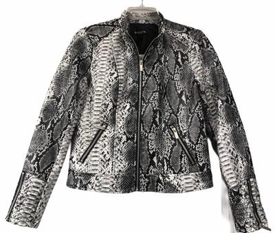 New BACCINI Faux Leather Reptile Moto Jacket Medium