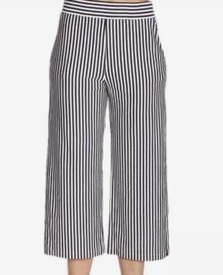 CYNTHIA ROWLEY B/W Stripe Wide Leg Crop Pants size 12
