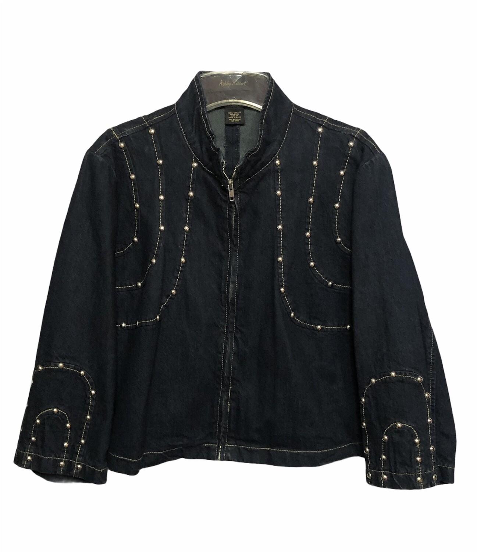 ASHLEY STEWART Studded Dark Denim Crop Jacket 24