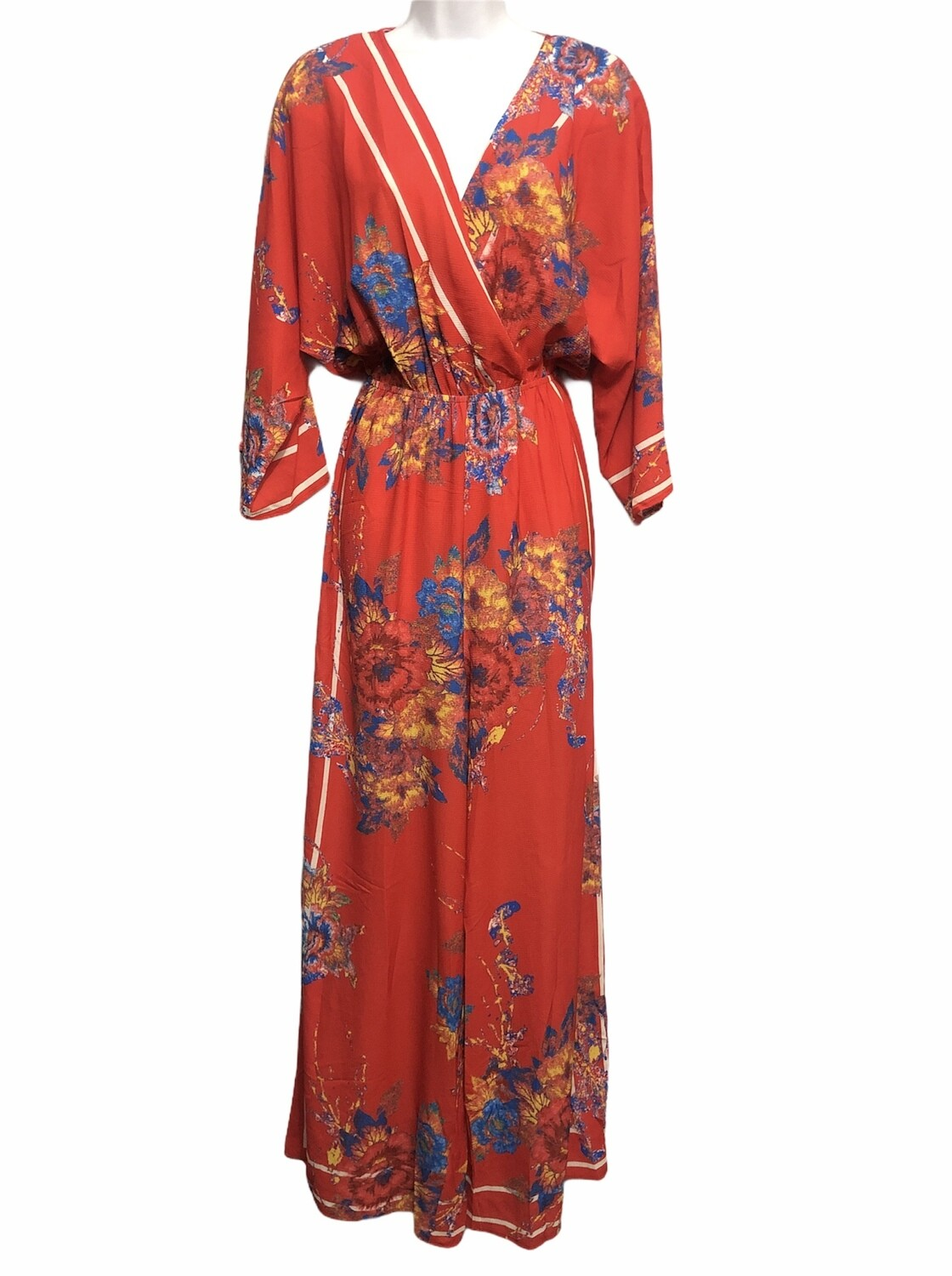 FLYING TOMATO Red Floral Kimono Style Jumpsuit size Small
