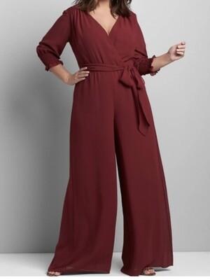 NEW LANE BRYANT Wine Chiffon Jumpsuit size 16 $89