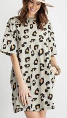 "EASEL ""Cant Tame Me"" Sage T-Shirt Tunic Dress Medium"