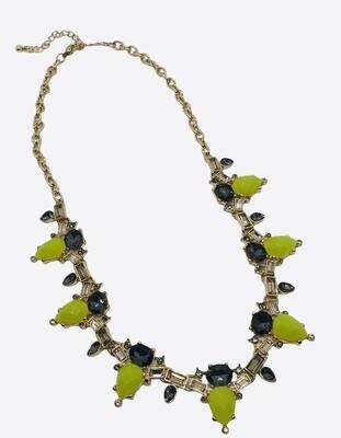 Chartreuse & Smokey Stone Statement Necklace