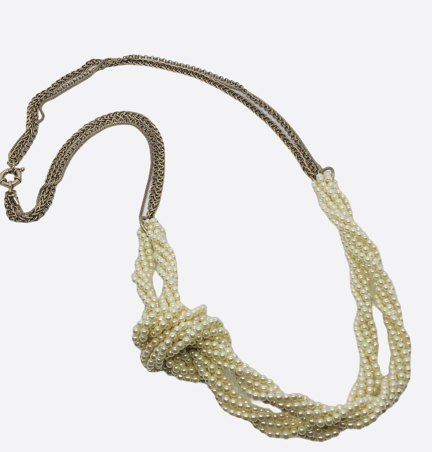 BANANA REPUBLIC Braided Pearl & Gold Link Long Necklace