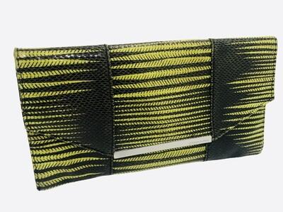BCBG Max Azria Abstract Chartreuse Envelope Clutch Handbag