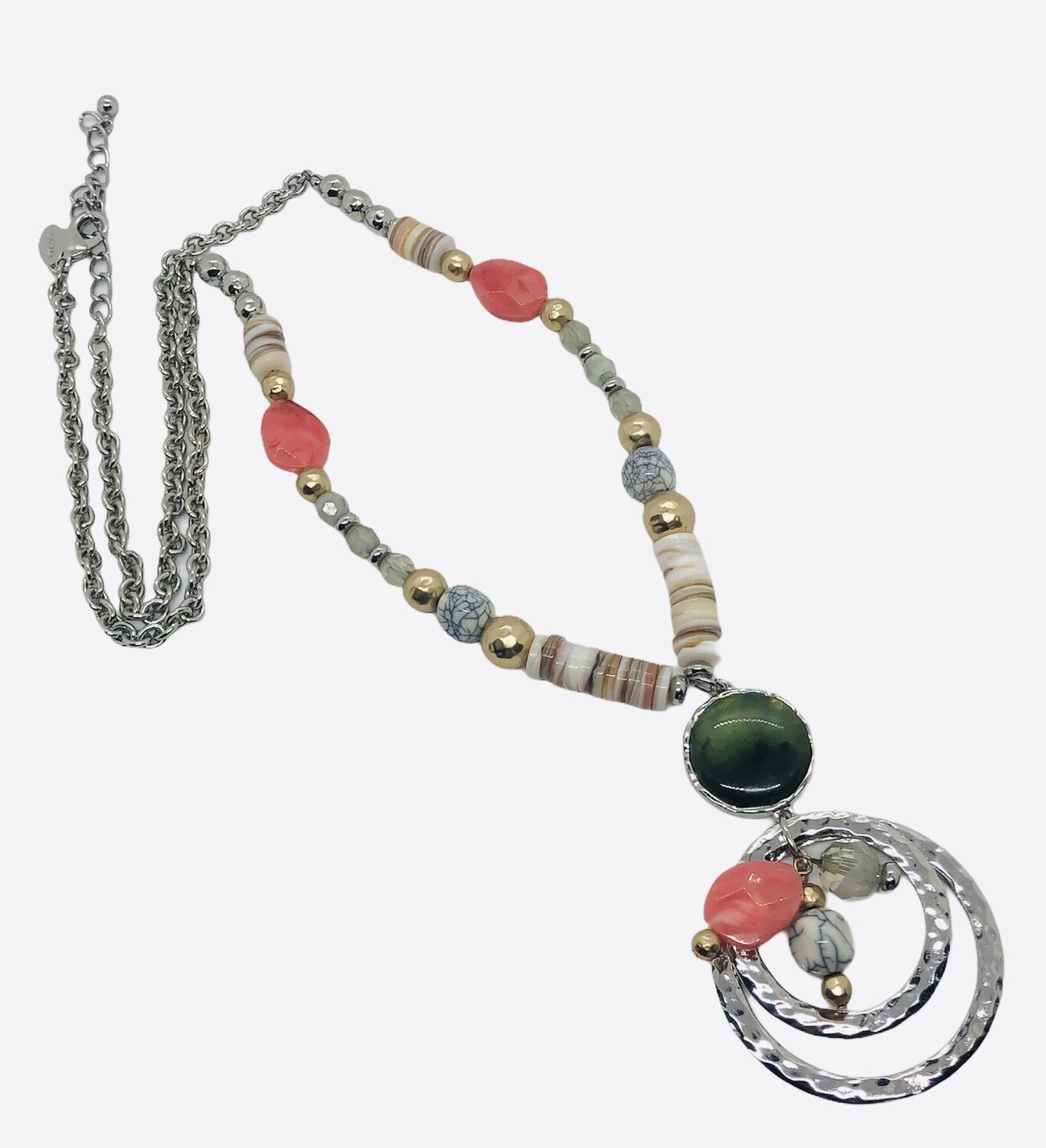 CHICOS Silver & Bead Long Necklace