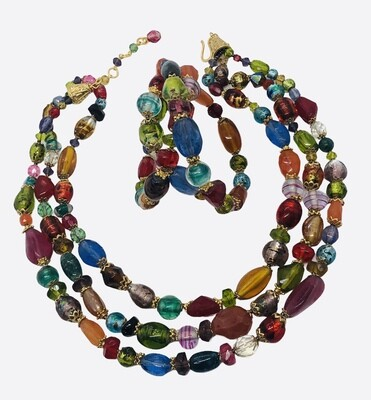 2pc Multi Color Triple Strand Necklace and Wrap Bracelet