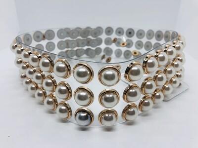 Transparent & Pearl Wide Accent Belt