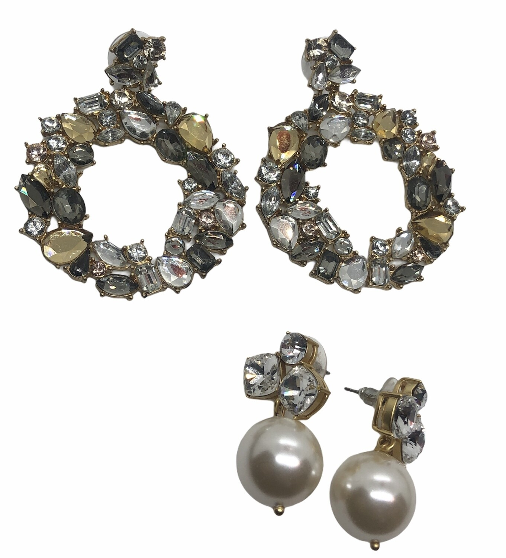 2-for-1 Rhinestone & Pearl Pierced Earrings