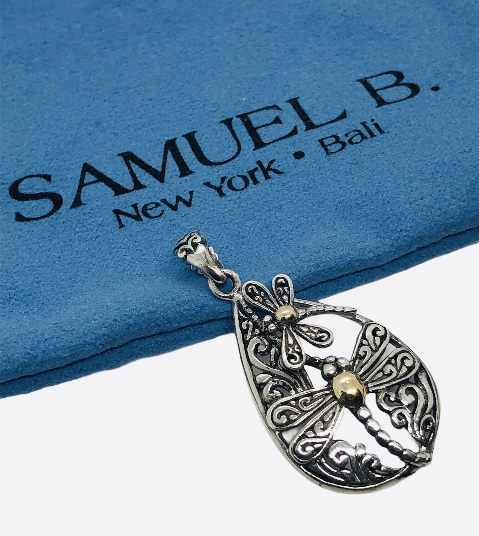 New SAMUEL B. Sterling & Gold Dragonfly Pendant