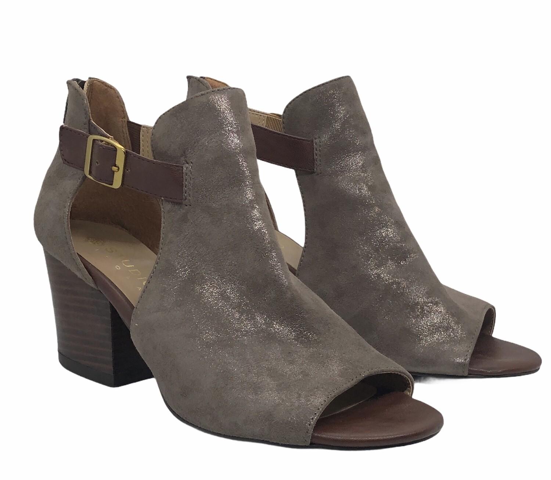 STUDIO ISOLA Metallic Leather Peep Toe Bootie Shoes 10