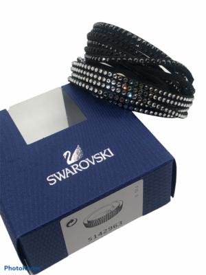 New SWAROVSKI Jet Black & Crystal Wrap Bracelet