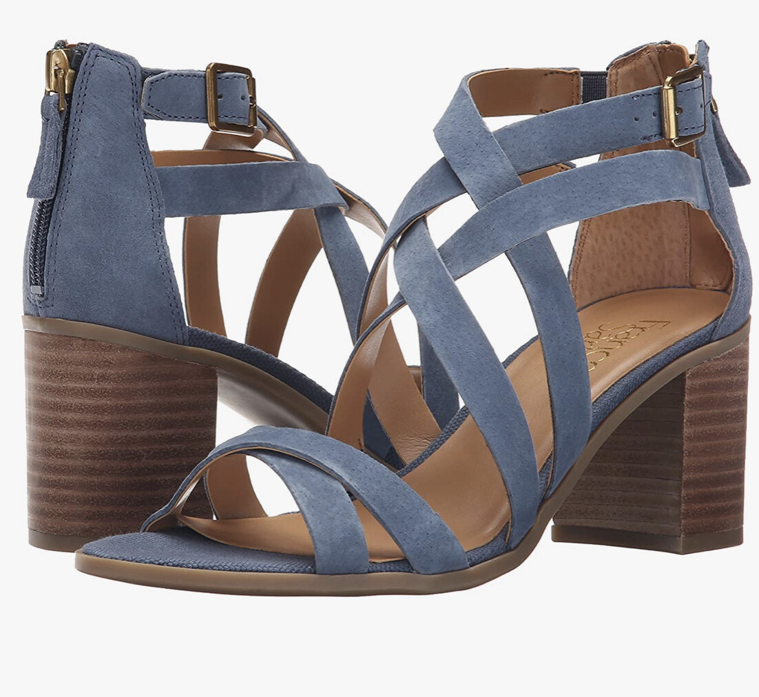 "New FRANCO SARTO ""Hachi"" Blue Suede Strap Sandals size 10"