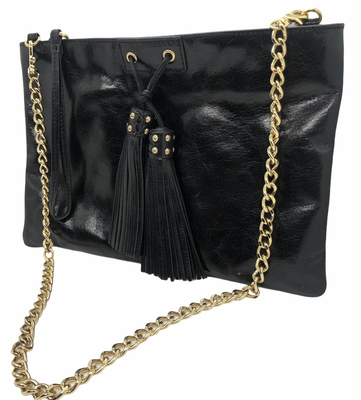 BADGLEY MISCHKA Black Leather 2-in-1 Tassel Shoulder Bag & Wristlet