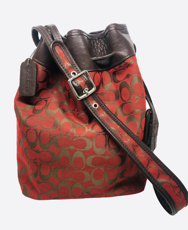 COACH Legacy Signature Drawstring Bucket Satchel Handbag