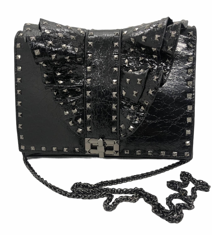 INZI Black Crackle Distressed Leather Spike Shoulder Handbag