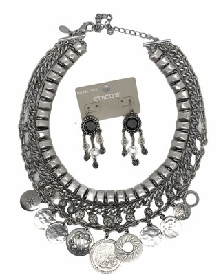 CHICOS Brushed Silver Coin Charm Necklace with Earring Set