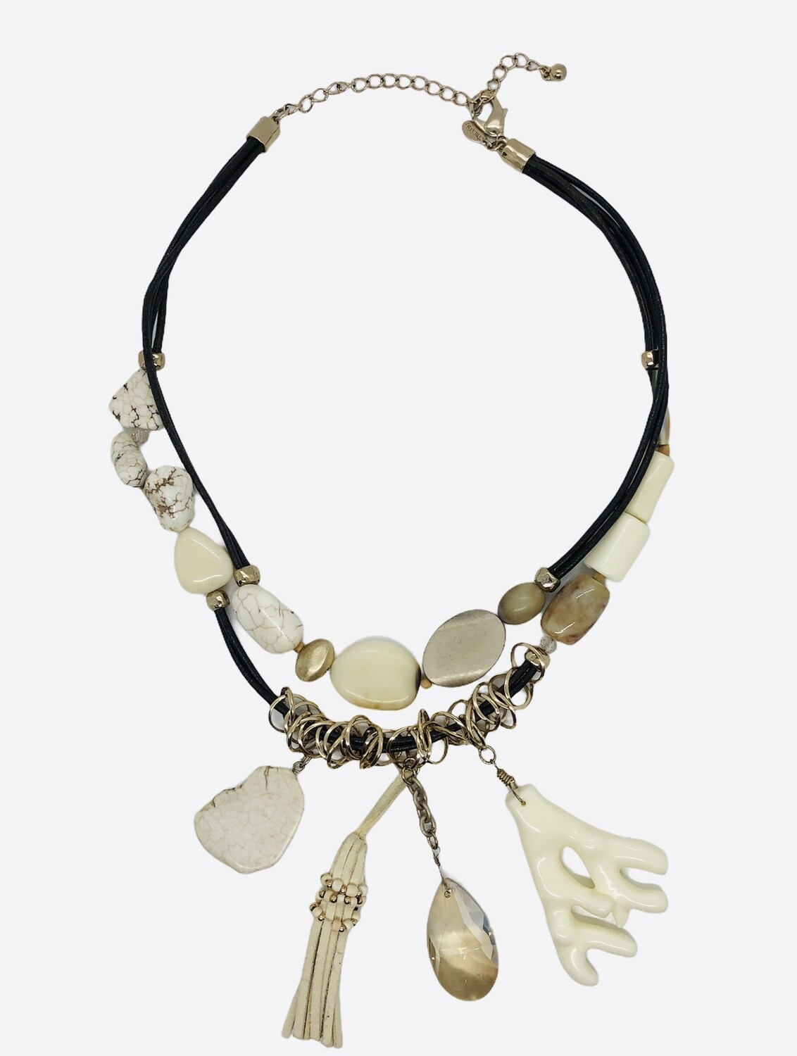 CHICOS Ivory Mixed Stone Statement Necklace