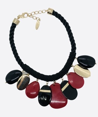CHICOS Red & Black Teardrop & Rope Statement Necklace