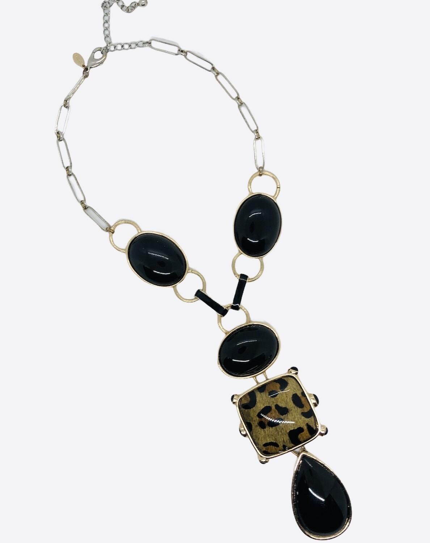 CHICOS Extreme Bead & Animal Print Statement Necklace