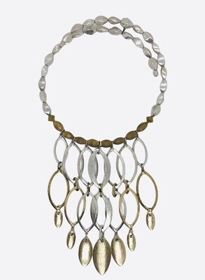 CHICO Silver & Gold Chandelier Dangle Choker Necklace