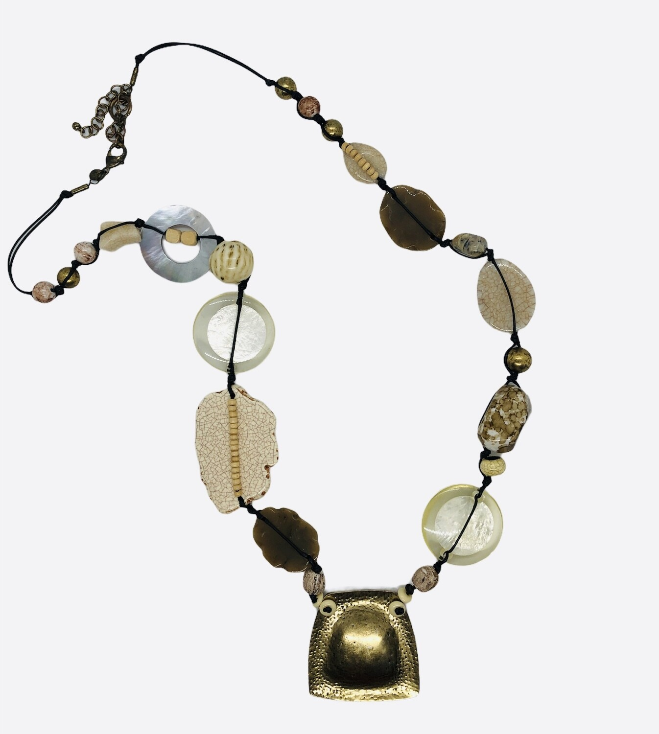 CHICOS Long Mixed Bead & Brass Statement Necklace