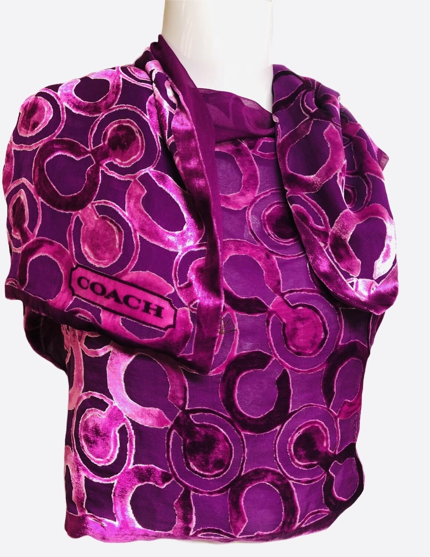 COACH Signature Fushia Purple Velvet & Sheer Shawl Scarf