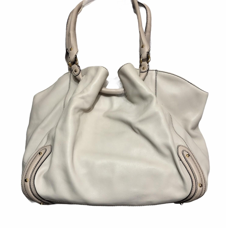 New COLE HAAN Paige SU06 2-Tone Bone Leather Satchel Handbag