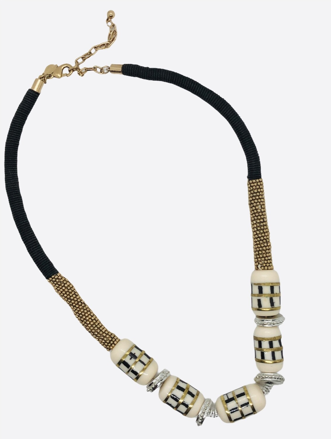 CHICOS Ivory Stone Threaded Coil Necklace