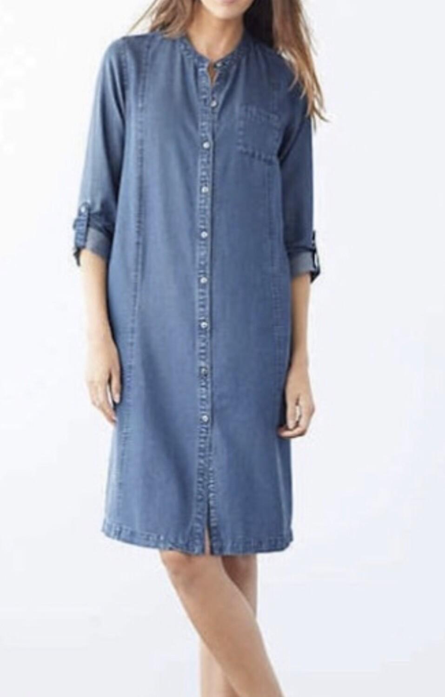 "New J JILL ""CAMDENWASH"" Denim Button Front Dress Large $99"