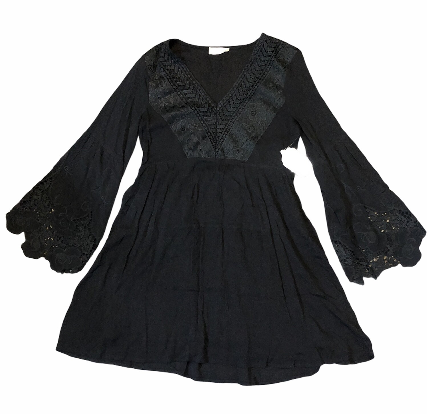 New ALTAR'D STATE Black Tunic Boho Dress w/ Eyelet Accent size S, $89