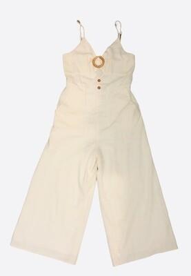 GILLI Cream Linen Jumpsuit w/ Cutout size Medium