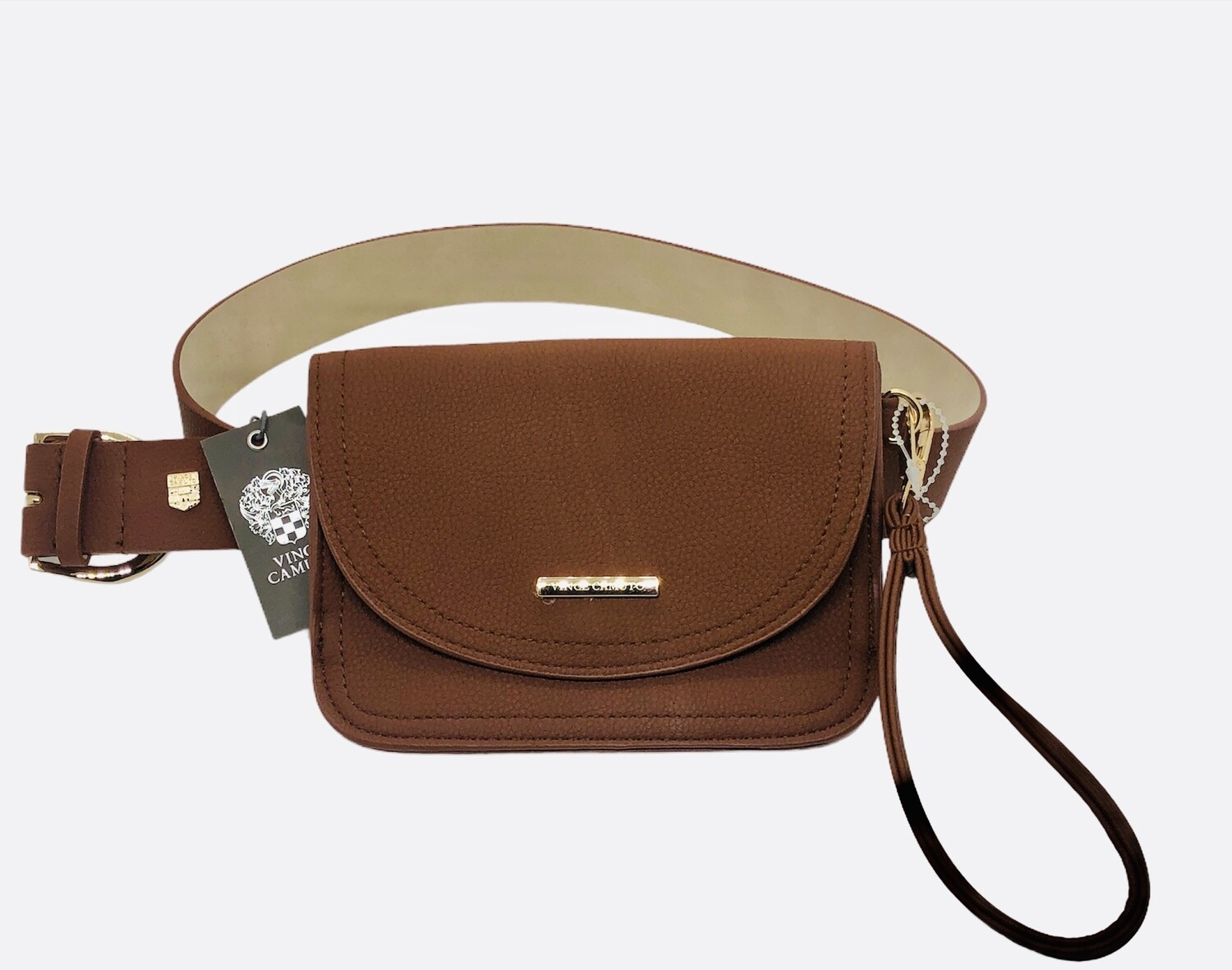 New 2-in-1 VINCE CAMUTO Pebble Leather Belted Fanny Pack / Wristlet Large