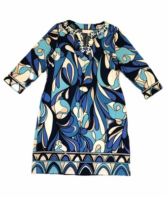 CHICOS Hues of Blues Dress with Bead Accent size 1 (Medium)