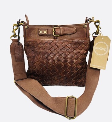 New MO & CO Distressed Woven Leather Crossbody Messenger Handbag
