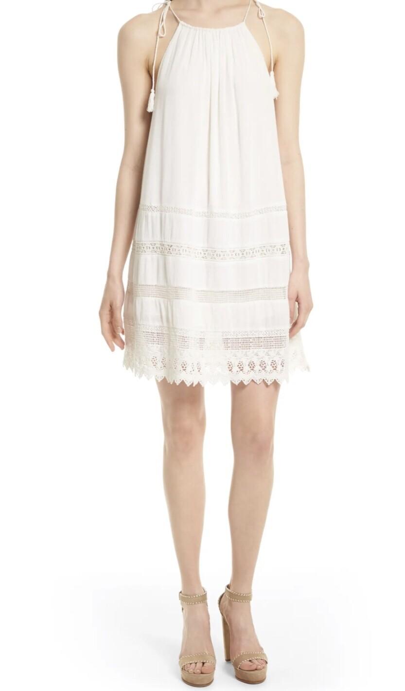 ALICE + OLIVIA White Eyelet Tie Strap Dress size Small